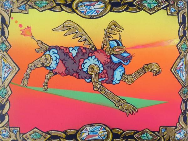 "Luxury Monster 24""x18"". Oil/Enamel on canvas.2013."