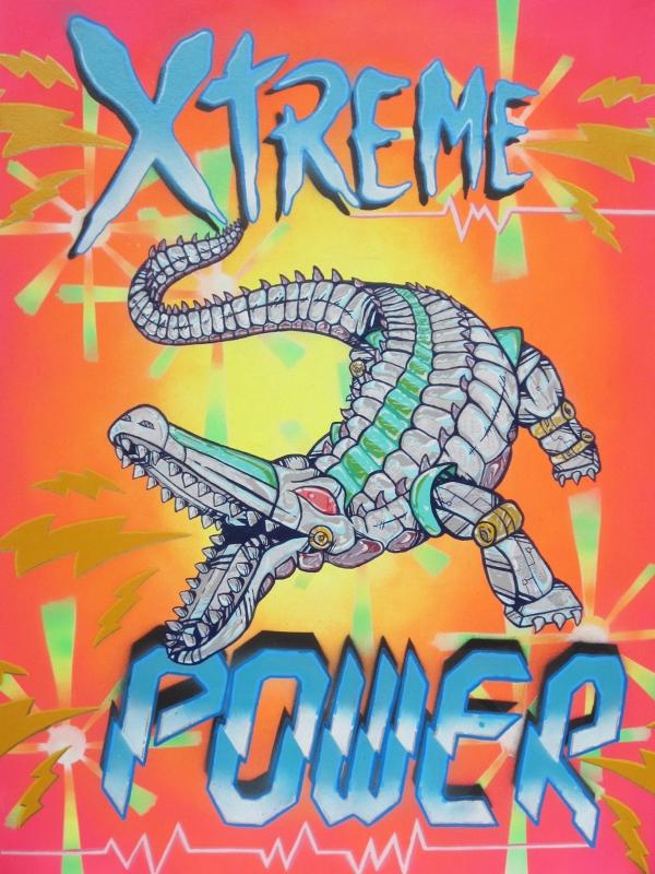 "Xtreme Power 30""x22"" Oil/Enamel on Canvas.2013"